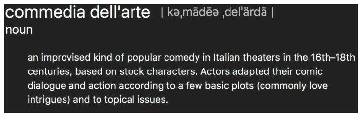 commedia definition grey white border